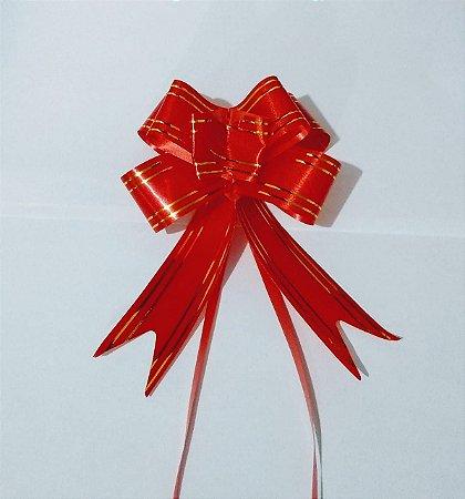 Laço Fácil Vermelho Com Bordas Listras Ouro 30mm (3cm x 48mm) R.255201 Unidade
