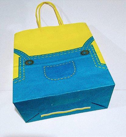 Sacola De Papel Minions (Mini Bag) 18x09x22 Cm Unidade