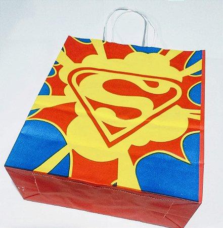 Sacola De Papel Super Man Herois 18X09X22 Cm Unidade