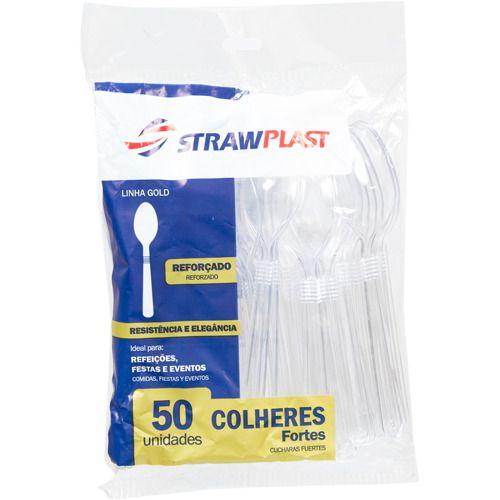 Colher Plástica Refeição Forte Strawplast Cristal R.Csc641 Com 50