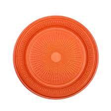 Prato Plástico Trik-Trik 15Cm Raso Laranja Com 10