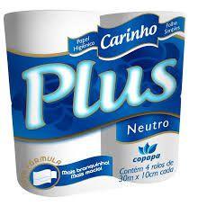 Papel Higiênico Carinho Plus Folhas Simples Neutro Pacote Com 4 Rolos De 30 Metros