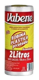 Saco Plástico em Bobina Freezer Microondas Vabene 18X35Cm 2 Litros R.2500 Rolo