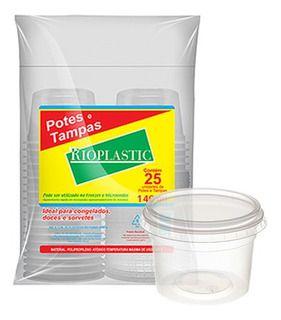 Pote Redondo Plástico Descartável Com Tampa 140 ml Com 25 Kits