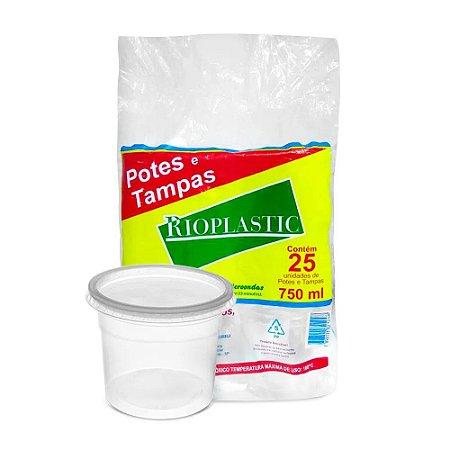 Pote Redondo Plástico Descartável Com Tampa 750 ml Com 25 Kits