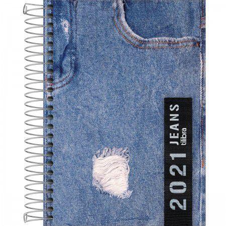 Agenda 2021 Tilibra Jeans Espiral M5 Capa Sortida R.135704 Unidade