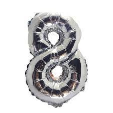 Balao Metalizado  Número 8 Prata 75Cm Unidade