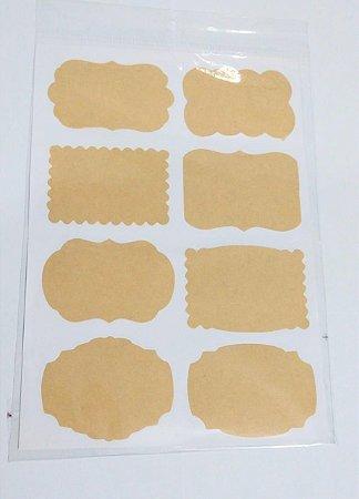 Etiqueta de Papel Adesiva Kraft R.ep052 Cartela Com 16