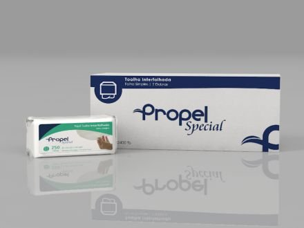 Toalha Interfolhada Propel Especial Folhas Simples 100% Celulose Virgem 22cm x 20,70cm Caixa Com 2400 Folhas R. Ti Sp 22228
