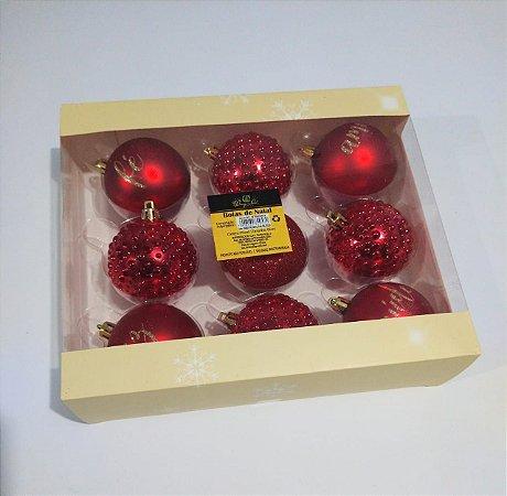 Bola de Natal 6cm Cor Vermelha R.ntb85003 Pacote Com 09 Unidades