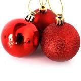 Bola de Natal Pvc 6cm Cor Vermelha R.ntb85606 Pacote Com 6