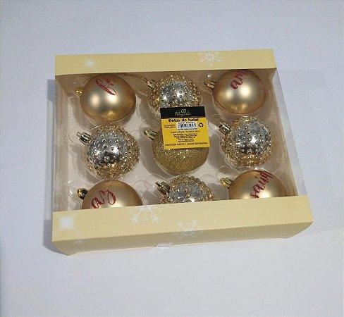 Bola de Natal 6cm Cor Dourada R.ntb85003 Pacote Com 09 Unidades