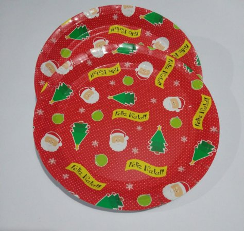 Prato de Papel Feliz Natal 23cm x 23cm R.ntw8043 Pacote Com 6