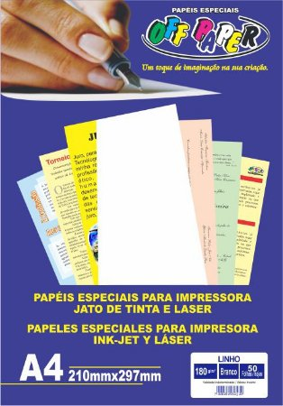 Papel Especial Off Paper Linho Branco A4 180GR Pacote Com 50 Folhas