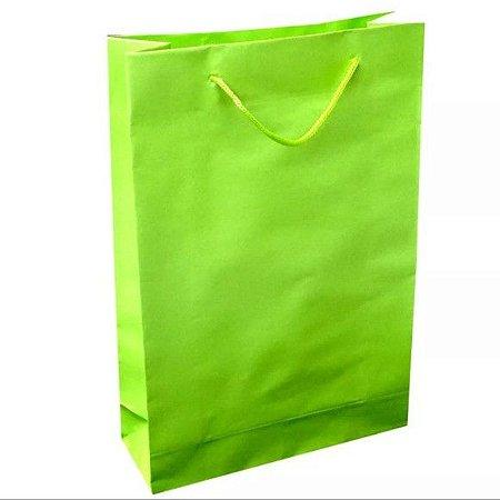 Sacola de Papel Verde Limão 18cmx09cmx22cm Pacote Com 10