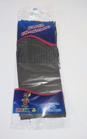 Papel de Bala Dafesta Com Uma Franja Cor Preto Pacote Com 48