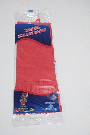 Papel de Bala Dafesta Com Duas Franjas Cor Vermelho Pacote Com 48
