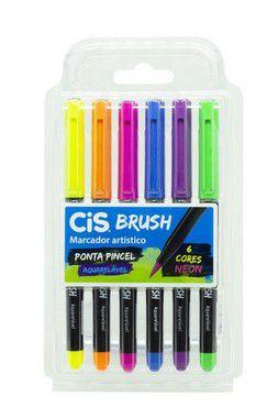Marcador Artístico Cis Brush R.709900 Estojo Com 6 Cores Tons Neon
