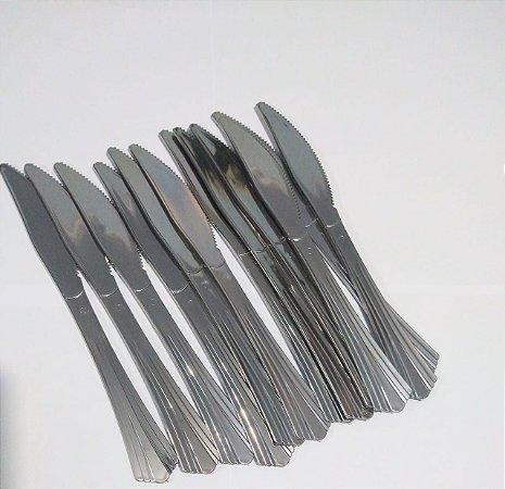 Faca de Plástico Rfestas Cor Prata R.ydh0310 Pacote Com 12