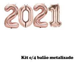 Kit Com 4 Balões Metalizados 2021 Cor Rose 75cm