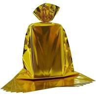 Saco para Presente Cromus Metalizado Dourado 15cm x 22cm Unidade