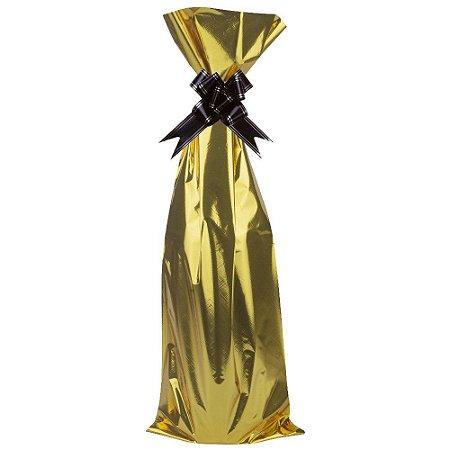 Saco Para Garrafa (Vinho) Cromus Metalizado Cor Dourado (Não Acompanha O Laço) 15cm x 44cm Unidade