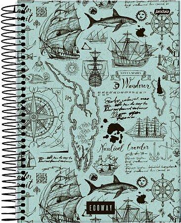 Caderno Espiral Universitário Capa Dura Sortida Jandaia Eco Way 20cm x 27cm 10 Matérias 160 folhas R.69054 Unidade