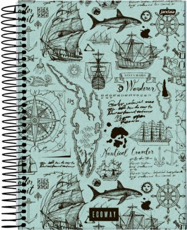 Caderno Espiral Universitário Capa Dura Sortida Jandaia Eco Way 20cm x 27cm 1 matéria 80 folhas R.69055 Unidade