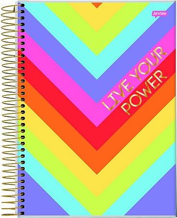 Caderno Espiral Universitário Capa Dura Sortida Jandaia Wish 20cm x 27cm 1 matéria 80 folhas R.69207 Unidade