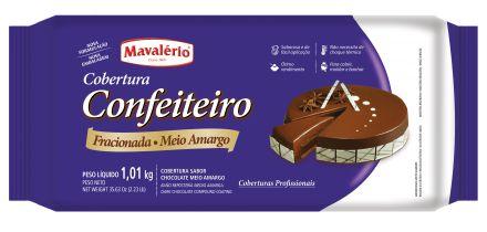 Cobertura Chocolate em Barra Confeiteiro Fracionada Mavalério Chocolate Meio Amargo 1,01Kg R.09276 Unidade