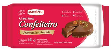 Cobertura Chocolate em Barra Confeiteiro Fracionada Mavalério Ao Leite 1,01Kg R.09275 Unidade