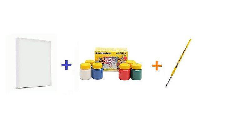 Kit para Pintura Tela 20cm x 30cm + Pincel Redondo Número 06 + Caixa de Tinta Guache 15ml Com 6 Cores Sortidas
