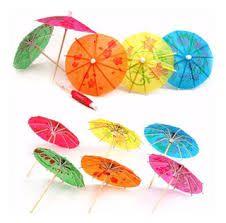 Palito Em Madeira Decorativo Mini Guarda-chuva Pacote Com 12 Peças