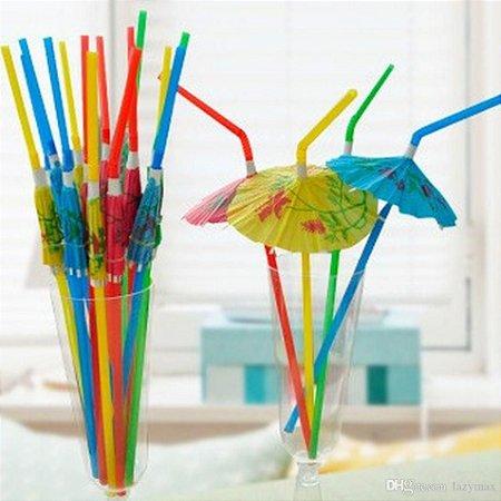 Canudo Plástico Decorativo 24cm Mini Guarda-chuva Cor Sortida Pacote Com 12 Peças