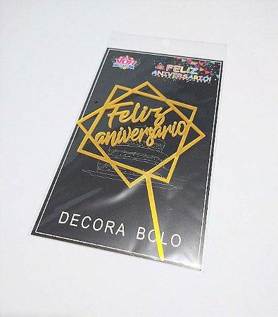 Enfeite Decorativo Topo De Bolo Feliz Aniversário 11cm Cor Sortida R.ydh2269 Unidade