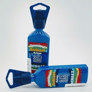 Tinta Dimensional Brilliant 3d Acrilex Azul Turquesa 35ml Unidade