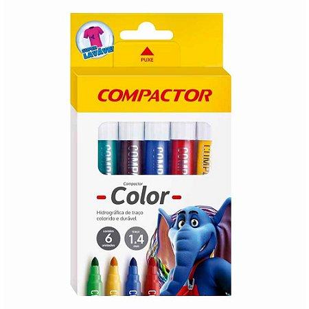 Pincel Hidrocor Compactor Color Estojo Com 6 Cores Sortidas R.158242