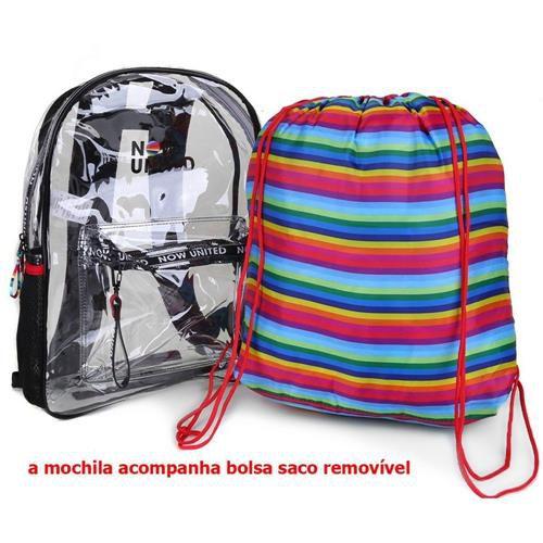 Mochila Transparente Com Bolsa Interna Removível Clio Now United 42cm x 31cm x 15cm R.NU3255 Unidade