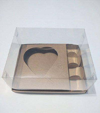 Caixa Coração De Colher 200 Gramas e Docinhos Base Kraft + Berço Kraft + Tampa De Acetato Transparente + Forminhas Para 4 Docinhos 18cm x 14cm x 9cm R.cxdpasc21119 Unidade