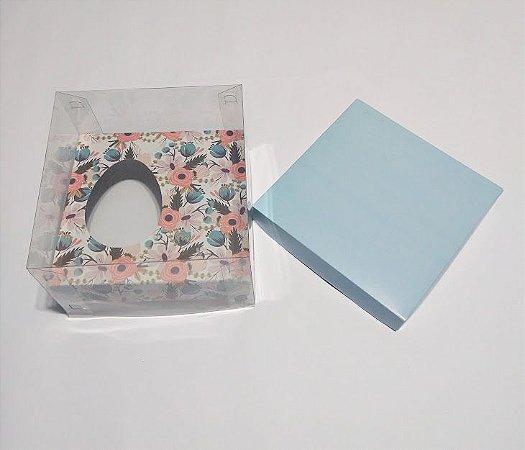 Caixa Para Ovo De Colher 150 Gramas Base Azul Tiffany + Berço Floral + Tampa de Acetato Transparente 14cm x 14cm x 9cm R.cxdpasc21704 Unidade