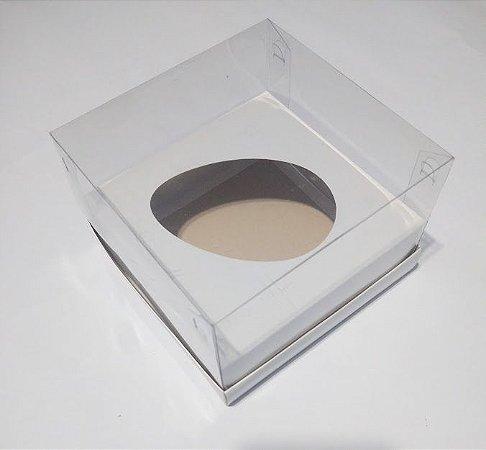Caixa Para Ovo De Colher 250 Gramas Diagonal Duplex Base Branca + Berço Branco + Tampa De Acetato Transparente 14cm x 14cm x 9cm R.cxdpasc21620 Unidade
