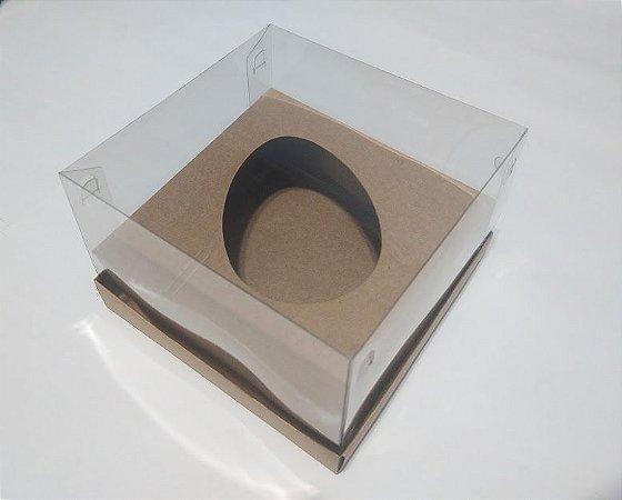 Caixa Para Ovo de Colher 250 Gramas Diagonal Base Kraft + Berço Kraft + Tampa de Acetato Transparente 18cm x 14cm x 9cm R.cxdpasc21621 Unidade