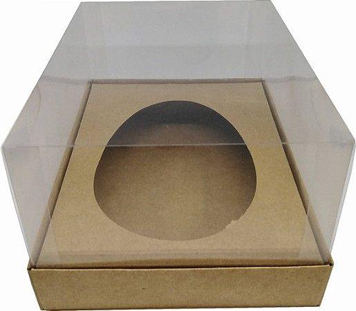 Caixa Para Ovo De Colher 350 Gramas Base Kraft + Berço Kraft + Tampa de Acetato Transparente 18cm x 14cm x 9cm UnidadeR.cxdpasc21917 Unidade