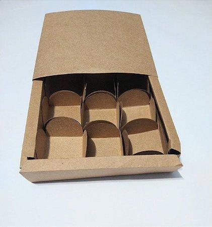 Caixa Gaveta Deslizante Para 9 Docinhos Kraft 13cm x 13cm x 3cm R.cxdpasc211005 Unidade
