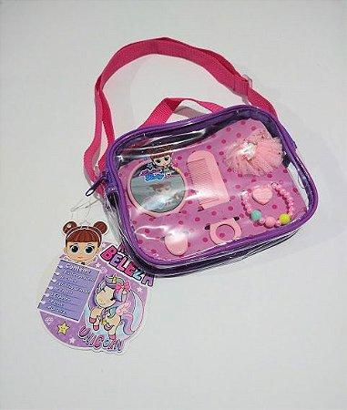 Bolsa Infantil Em Pvc Transparente Com Alça Tiracolo Cor Sortida Clio Kit Beleza ( 1 Pente + 1 Pulseira + 1 Xuxinha + 1 Presilha para Cabelo + 1 Espelho) R.kb3188 Unidade