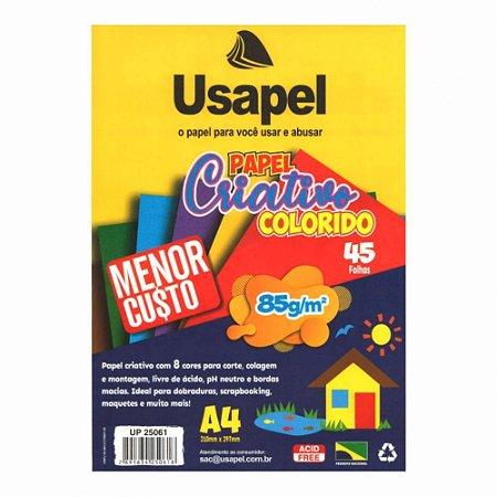 Papel Especial Criativo Usapel Colorido com  8 Cores 85g/m² A4 210x297 mm Com 45 folhas