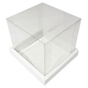 Caixa para Bolo Base Branca + Tampa de Acetato Transparente 15cm x 15cm Unidade