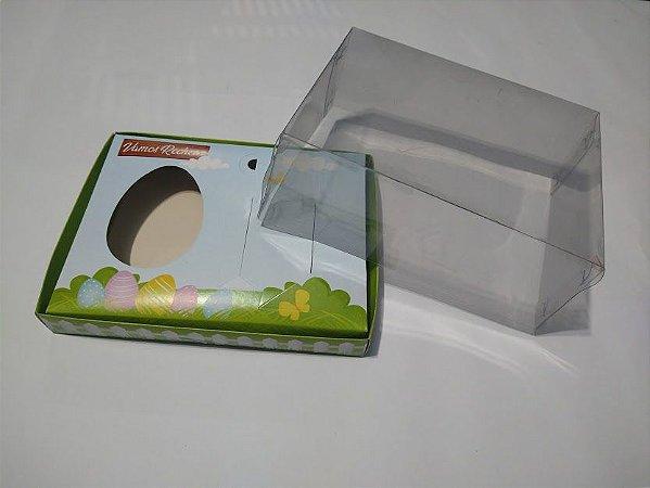Caixa Kit Confeiteiro 18cm x 14cm x 7cm para Ovo de Colher 150 Gramas Base Decorada + Berço Decorada + Suporte para 2 Tubetes e Colherzinha + Tampa de Acetato Transparente Unidade