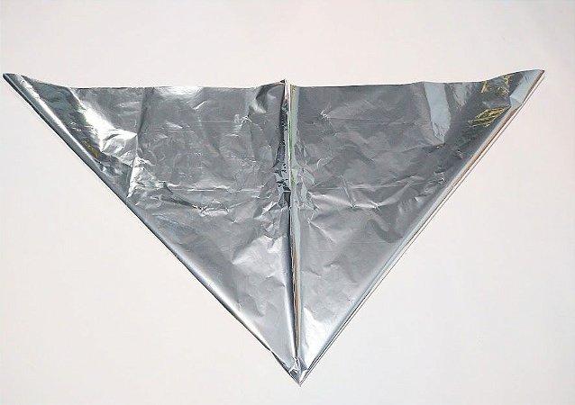 Saco Cone Metalizado Liso Prata 35cm x 34,5cm Unidade