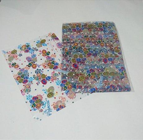 Saco Transparente Decorado Páscoa Colorida 20cm x 30cm Unidade